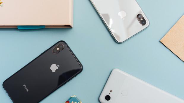 iphone flatlaid on a table
