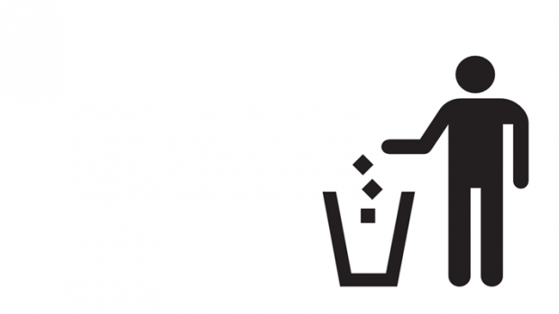 Throwing away trash icon